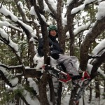 Gabe snow shoed up a tree!