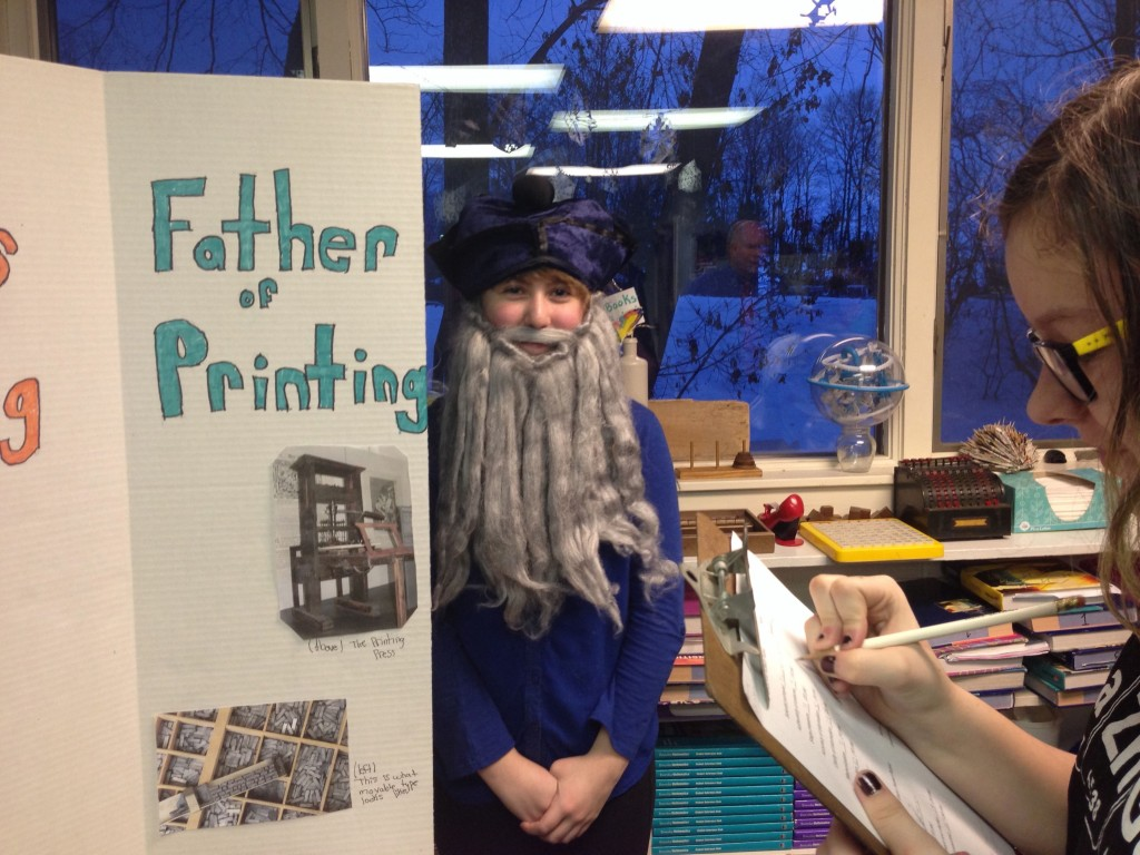 Emma really dressed the part to explain the life of the Father of Printing..