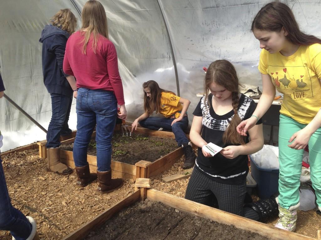 Olivia and Anna planting arugula
