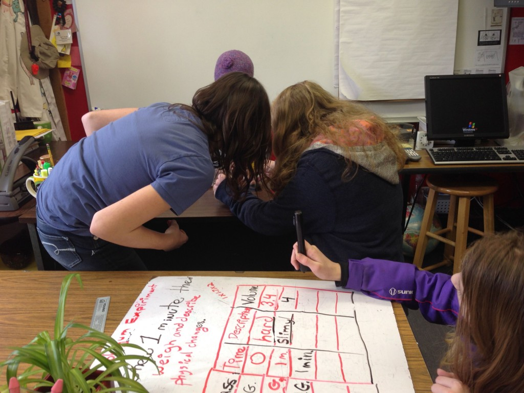 Lauren writing down qualitative and quantitive data as the others observe the gum.