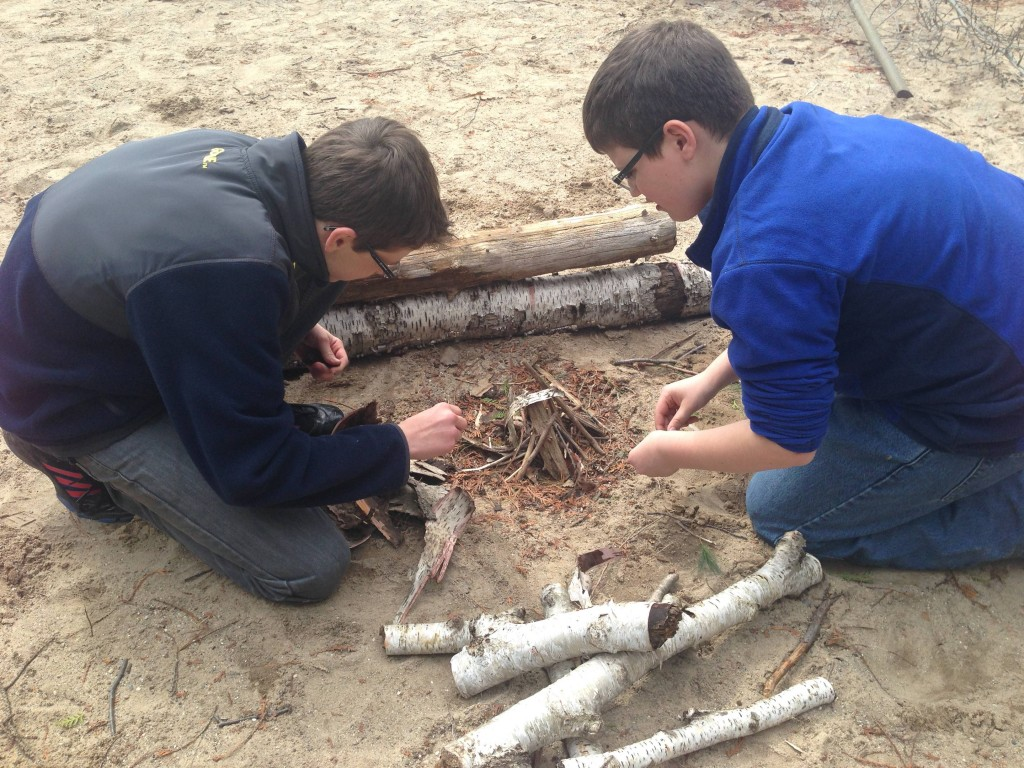 Noah and Tom building their base.